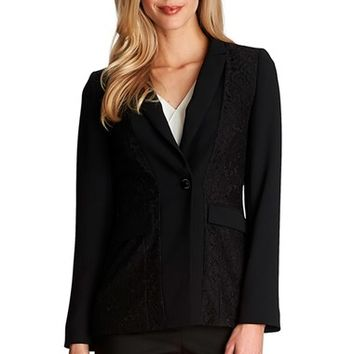 Women's CeCe by Cynthia Steffe Floral Lace Inset One-Button Jacket,