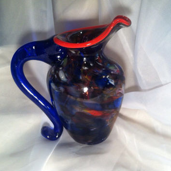 Multicolor Blown Glass Art Pitcher