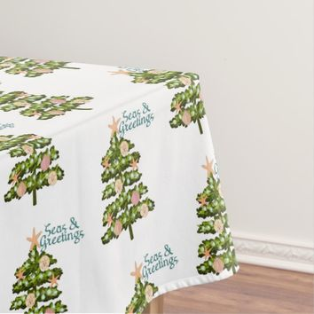 Seas & Greetings Coastal Christmas Tree Tablecloth