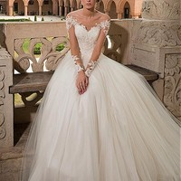 [164.99] Graceful Tulle Off-the-shoulder Neckline A-line Wedding Dresses With Beaded Lace Appliques - Dressilyme.com