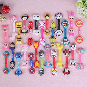 100pcs/lot Hot Sale Cute Cartoon Headphone Earphone Cable Wire Organizer Cord Holder USB Charger Cable Winder For iphone samsung