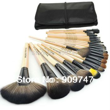 Professional 24 pcs Makeup Brush Set tools Make-up Toiletry Kit Wool Brand Make Up Brush Set Case Cosmetic brush free shipping