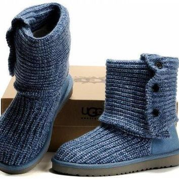 MDIG1O UGG Knitted thick wool snow boots BLUE