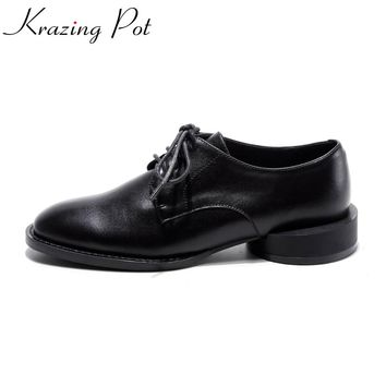 2017 Krazing Pot New fashion brand round toe thick low heels Oxford shoes solid preppy style women strange heels lazy pumps L01