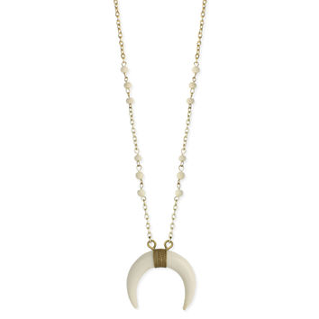 White Double Horn Long Necklace
