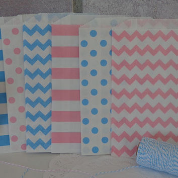 "24 Pink and Aqua Blue Medium Paper Favor Bags - Gender Reveal Party - Baby Shower - 5"" x 7.5"" Bags - Candy Buffet - Treat Bags - Birthday"
