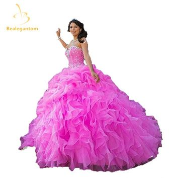 2017 New Sweetheart Ball Gown Quinceanera Dresses with Crystal Beading Sequined Sweet 16 Dresses Vestidos De 16 Party Gowns Q119