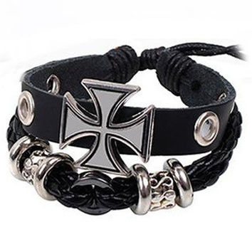 Metal Cross Infinity Leather Bracelet