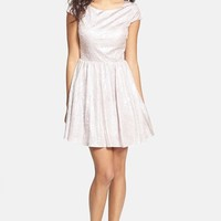 Hailey Logan Back Cutout Metallic Skater Dress (Juniors)