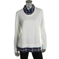 Tommy Hilfiger Womens French Terry Plaid Pullover Top