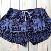 Elephants Boho Tribal Print Shorts Beach Hippie For Summer Style Clothing Aztec Ethnic Bohemian Ikat Boxer Cute Women Thaicloth Unique Blue