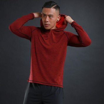 LMFLD1 Autumn thin Men Running T Shirts Gym fitness Long Sleeves sweatshirts Quick Dry Training Jersey Breathable Hood Sports Clothing