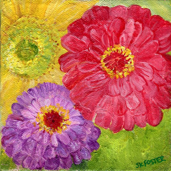 Colorful zinnias and sunflower 5 x 5 canvas,  original flower art painting