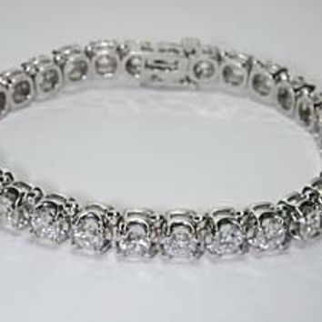 11.80ct Round Diamond Tennis Bracelet 18kt White Gold  JEWELFORME BLUE