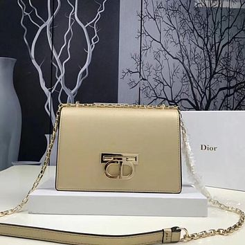 DIOR WOMEN'S 2018 NEW STYLE LEATHER INCLINED CHAIN SHOULDER BAG