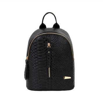 Fashion Women PU Leather Backpack Satchel Shoulder Handbag School Bag Black