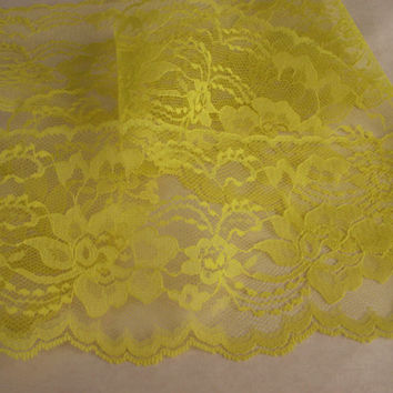 "Bright Yellow Lace Trim, 4"" wide, Apparel, Doll Clothes, Scrapbooking, Sachets, Lace for Invitations, Mason Jars, Lace Favor Wraps, 5 YARDS"