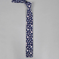 the hill side - s57 035 selvedge floral indigo discharge print necktie