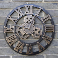 "Oversized 23"" 3-D Retro Rustic Decorative Big Gear Wooden Wall Clock"