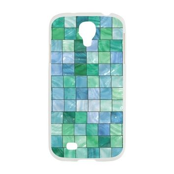 SHINY BLUE AND GREEN TILE M SAMSUNG GALAXY S4 CASE