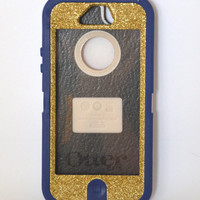 Otterbox Case iPhone 5 Glitter Cute Sparkly Bling Defender Series Custom Case Gold Champagne/ Blue