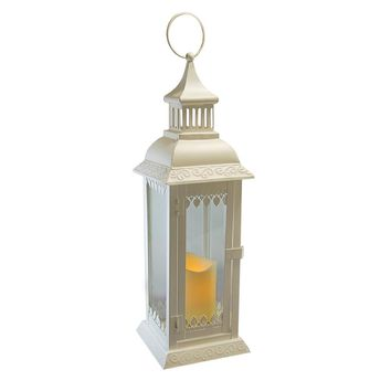 Metal Lantern with Flickering Battery Operated LED Candle- White Leaf
