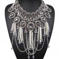 Pearl Tassel Chrystal Flower Statement Necklace