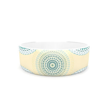 "Julia Grifol ""Soft Mandalas"" Green Yellow Pet Bowl"
