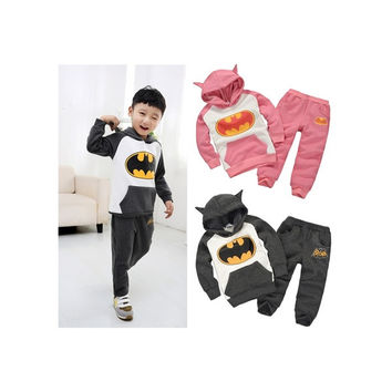 Baby Kids Children Hoodie Sportwear Batman Winter Roupa Infantil Hoody Sudaderas Sweatshirt Top Pants Clothing Set Clothes