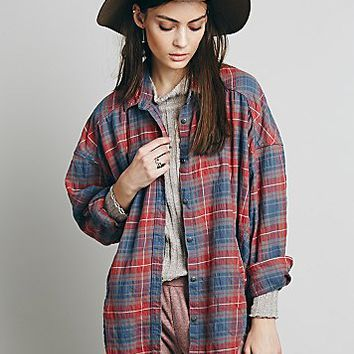 Free People Womens Oversized and Plaid Boyfriend Shirt