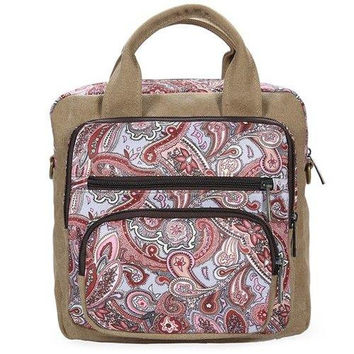 Ethnic Style Canvas Paisley Print Backpack