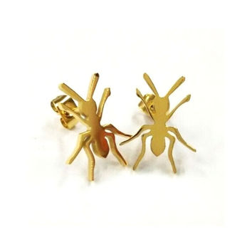 Gold Plated Lady Muck Ant Studs