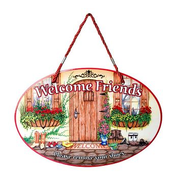 """Welcome Friends """"Please remove your shoes"""" Door Sign"""