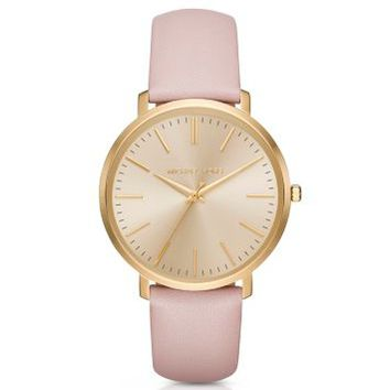 Jaryn Gold-Tone Leather-Band Watch | Michael Kors