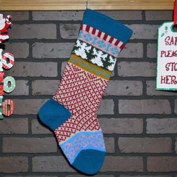 Hand Knit Christmas Stocking, Fair Isle Knit Stocking with Teal Cuff and White Angels, can be personalized