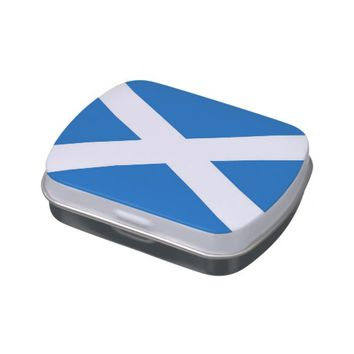 Patriotic candy tins with Flag of Scotland