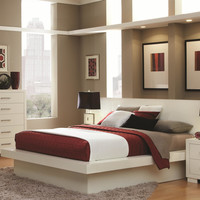 King size Modern Platform Bed with Headboard in White Finish