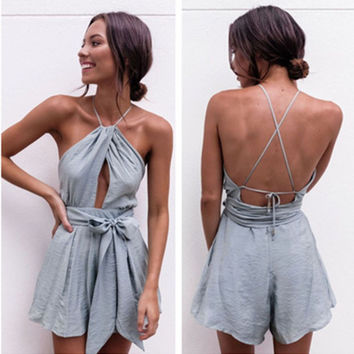 """""""Urban Outfitters"""" Fashion Sexy Sleeveless Backless Hollow Halter Waistband Romper Jumpsuit Shorts"""