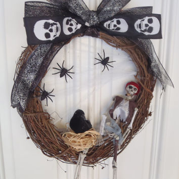 Pirates of the Caribbean Halloween Wreath, Skeleton,  Skull, Spiders in Web and Raven /Handmade by FeistyFarmersWife
