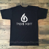 Travis Scott Logo Tee Shirt Black Short Sleeve Travis Scott La Flame Rodeo Merch
