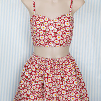 Red Daisy Twin Set Fitted Crop and Full Skirt In 90s Floral Print Cute Lolita