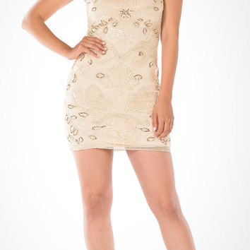 Sequins Embellished Illusion Bodycon Cocktail Dress Sleeveless Champagne