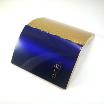 Vintage Melissa Cigarette Case Box Holder 50s Made In England Personalized Gold Cobalt Blue Enamel