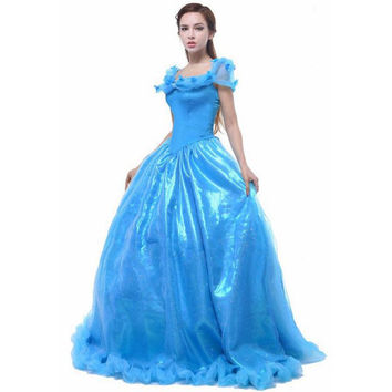 2015 Adult Cinderella Costume Dress Woman Cosplay Halloween Costume Party Dress Princess Dress For Adult vestido de festa longo