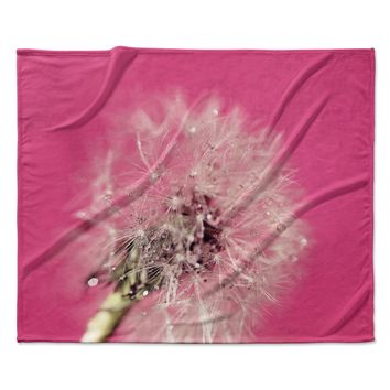 "Beth Engel ""Pink Twilight"" Magenta Dandelion Fleece Throw Blanket"