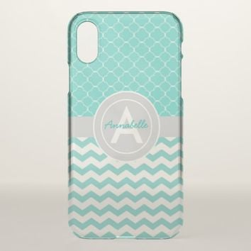 Teal Gray Chevron Quatrefoil iPhone X Case
