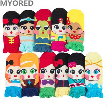 MYORED cartoon women Mermaid socks cotton colorful summer ankle socks ladies sock slippers invisible boat sock