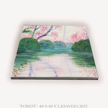 Enchanted Forest Acrylic Painting FREE SHIPPING World Tree of life Original Art Impressionist Contemporary emerald pink and green garden