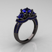 French 14K Black Gold Three Stone Blue Sapphire Wedding Ring, Engagement Ring R182-14KBGBS