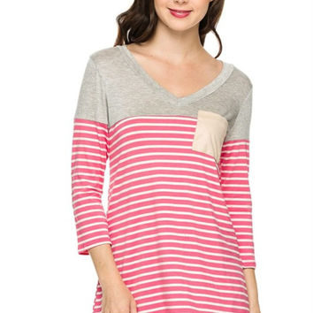 3/4 Sleeve Hi-Low Knit Top W/ Elbow Patches